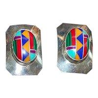 Pair of Sterling Silver Inlaid Earrings