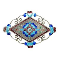 Chinese Silver and Enamel Brooch