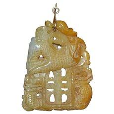 14K Chinese Jade Dragon Pendant