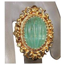 Large 14K Green Tourmaline Ring