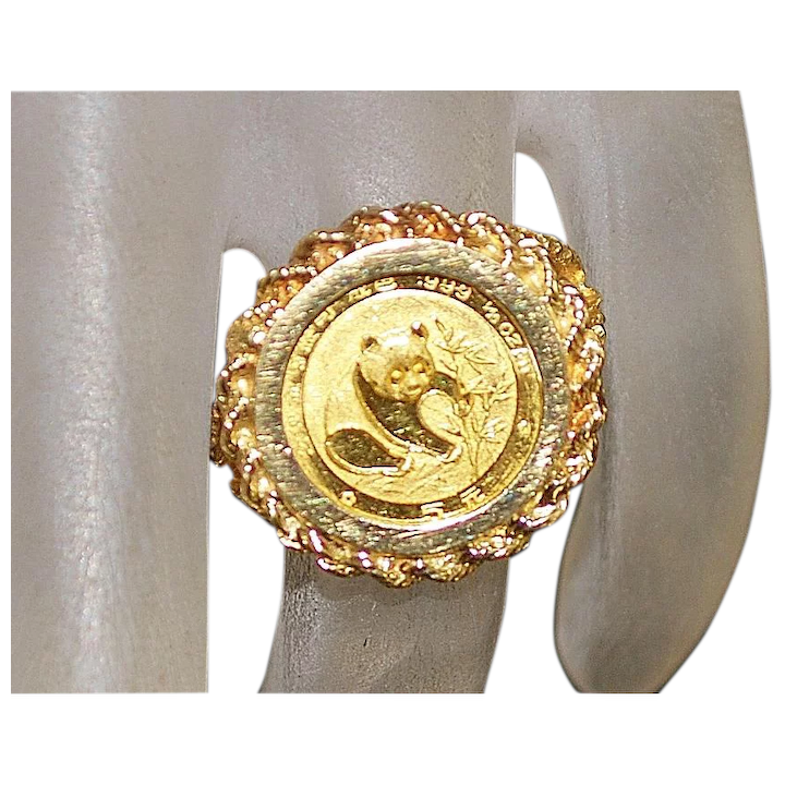 14K Chinese Gold Panda Coin Ring