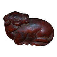 Chinese Carved Wood Netsuke of an Animal