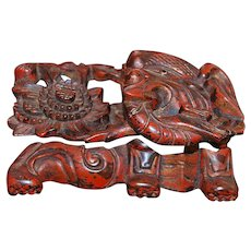 Old Chinese Ming Wood Carving of an Elephant