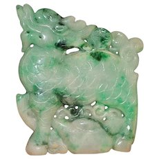 Old Chinese Carved Green Jade Pendant