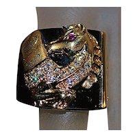 14K Gold Pegasus, Onyx and Diamond Ring