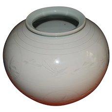 Japanese Flying Cranes  Blanc-de-Chine Porcelain Vase