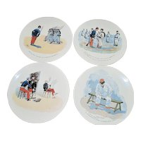 French Sarreguemires Comical Military Plates - 1910