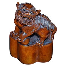 Extremely Finely Carved Boxwood Foo Dog  - Signed