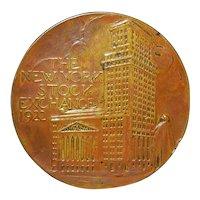 New York Stock Exchange Bronze Medal - 1922