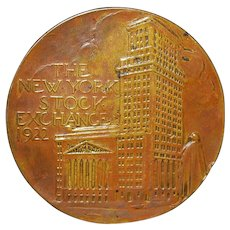 New York Stock Exchange Bronze Medal - 1922