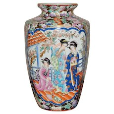 Large Old Japanese Meiji Vase
