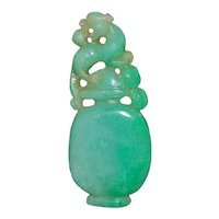Old Chinese Apple Green Jade Sculpture
