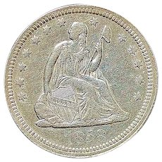 United States Seated Liberty Quarter Coin - 1858