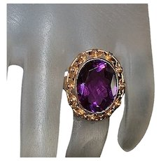 14K Rose Gold Amethyst Ring - 1940's