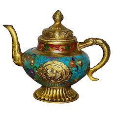 Old Chinese Gold Gilted Cloisonne Teapot
