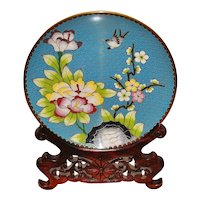 Chinese Cloisonne Plate with Stand - 1920's