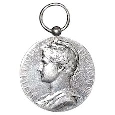 French Silver Medal Pendant - 1913