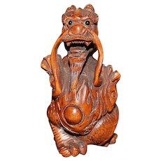 Carved Wood Dragon Netsuke