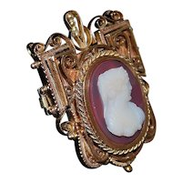 Gold Filled Victorian Stone Cameo Brooch - 1870's