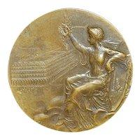 French Art Nouveau Bronze Medal - 1914