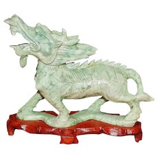 Chinese Carved Jade figure of Kirin