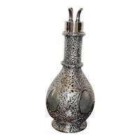 Sterling Silver Overlay Glass Decanter