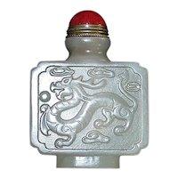 Chinese Jade Dragon Snuff Bottle