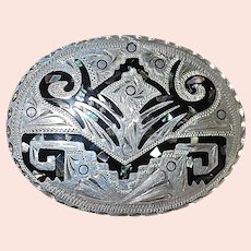 Sterling Silver Inlaid Belt Buckle