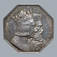 French Silver Crowned Busts Jeton - 1844