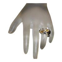 18K gold and 970 Silver Wave Ring