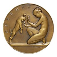 French Art Deco Bronze Medal of Artemis