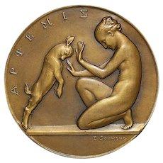 French Art Deco Bronze Medal of Artemis