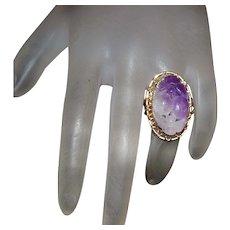 14K Carved Lavender Jade Ring - 1960's