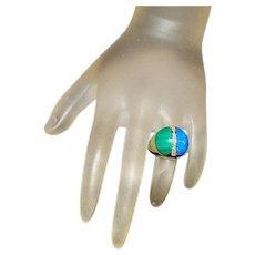 14K Lapis, Malachite and Diamond Ring
