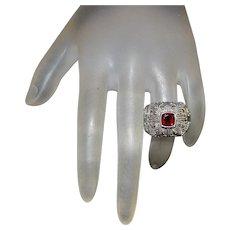 18K/Sterling Silver Garnet Ring