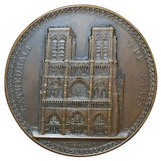 French Bronze Medal of Notre Dame Cathedral - 1842