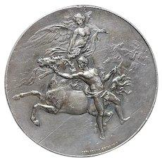 French Art Nouveau Silver Bronze Medal