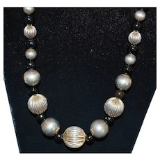 Large Sterling Silver and Black Onyx Necklace