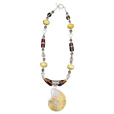 Large Ammonite and Murano Glass Bead Necklace