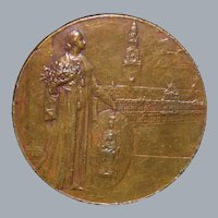 Large Belgian Bronze Medal by Mauquoy