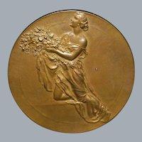 Large Belgian Art Nouveau Bronze Medal