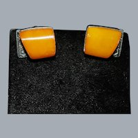 Art Deco Amber and Silver Cufflinks