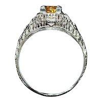18K w/g Yellow Sapphire Filigree Ring