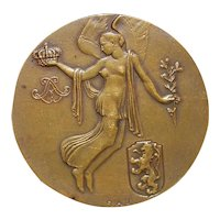 Art Deco Bronze Medal Belgian Independence