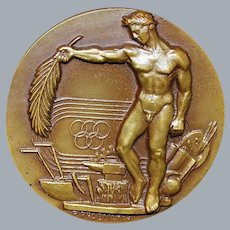 Large French Bronze Sports High Relief Medal