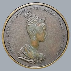 Large German Coronation Bronze Medal - 1836