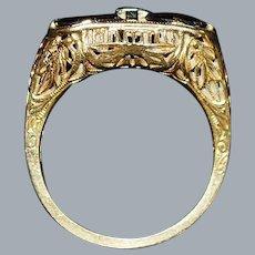 14K Filigree Garnet and Diamond Ring - 1920's