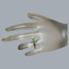 14K r/g Victorian Emerald Ring