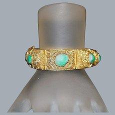 Chinese Silver Filigree Jade Bracelet