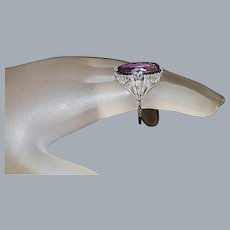 14K w/g Edwardian Filigree Amethyst Ring